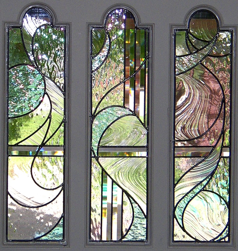Stained glass interior doors - With Interior Lights On